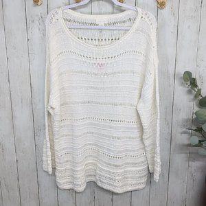 Caslon White Crocheted Sweater